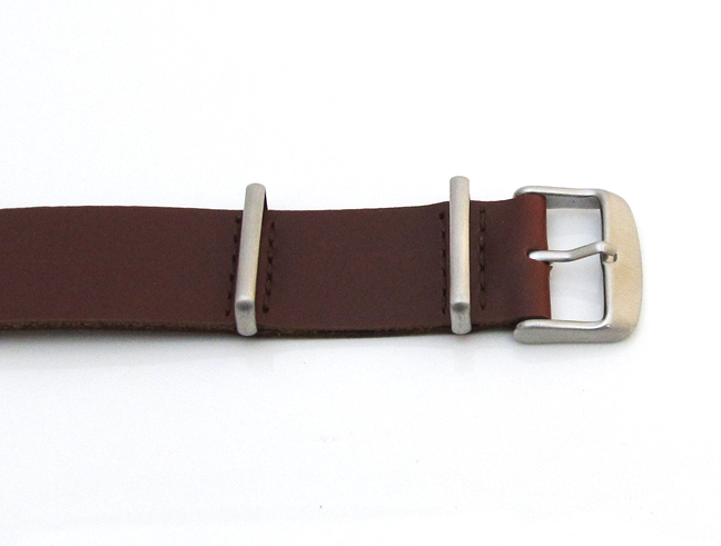 ab587ce72b7 ... Brown 18mm NATO Military Leather One Piece Watch Strap